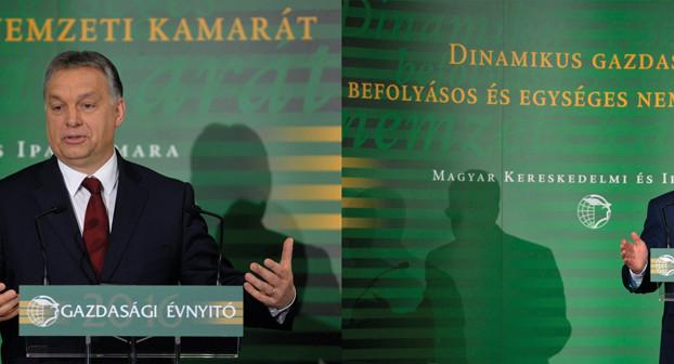Kürzlich bei der Ungarischen Industrie- und Handelskammer: Ministerpräsident Viktor Orbán und Notenbankpräsident György Matolcsy ziehen an einem Strang.