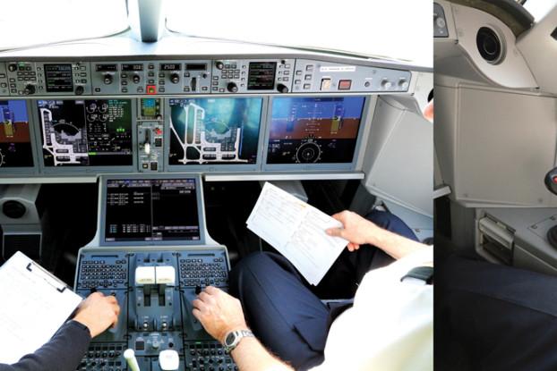 """Innovative Lenkung: Die Bombardier CS100 wird ohne klassisches Steuer digital navigiert, mithilfe eines sogenannten """"Sidesticks""""."""