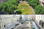 Noch im Sommer war der Nádor tér eine der wenigen grünen Inseln der Pester Innenstadt.